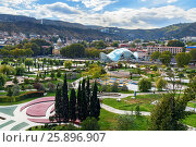 Купить «View of Rike Park with Bridge of Peace in Tbilisi, Georgia», фото № 25896907, снято 22 сентября 2016 г. (c) Elena Odareeva / Фотобанк Лори