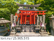 Купить «A shrine with fox sculptures, and red torii gate offerings at Fushimi-Inari Taisha Shinto Temple Kyoto, Japan», фото № 25905515, снято 23 марта 2019 г. (c) BE&W Photo / Фотобанк Лори