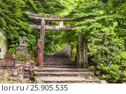 Купить «Torii gate and steps of Daisho-in temple, Miyajima Island, Western Honshu, Japan», фото № 25905535, снято 16 июля 2018 г. (c) BE&W Photo / Фотобанк Лори