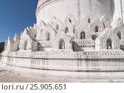 Купить «White pagoda of Hsinbyume aka Taj Mahal of Myanmar located in Mingun, Mandalay», фото № 25905651, снято 27 мая 2019 г. (c) BE&W Photo / Фотобанк Лори