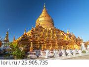 Купить «The Shwezigon Pagoda, the famous chedi in Bagan, Myanmar», фото № 25905735, снято 26 августа 2019 г. (c) BE&W Photo / Фотобанк Лори