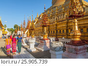 Купить «The Shwezigon Pagoda, the famous chedi in Bagan, Myanmar», фото № 25905739, снято 26 августа 2019 г. (c) BE&W Photo / Фотобанк Лори