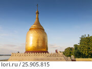 The Bupaya Pagoda, a chedi with bottle gourd shape which is located by Ayeyarwady River in Bagan, Myanmar. Стоковое фото, агентство BE&W Photo / Фотобанк Лори