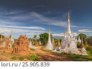 Купить «Buddhist stupas of Shwe Inn Thein Paya, pagoda complex, Inthein, Indein, Shan State, Myanmar», фото № 25905839, снято 17 февраля 2020 г. (c) BE&W Photo / Фотобанк Лори