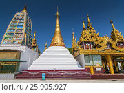Shwedagon Paya is the most sacred golden buddhist pagoda in Yangon, Myanmar. Стоковое фото, агентство BE&W Photo / Фотобанк Лори