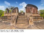 Купить «Vatadage (Round House) of Polonnaruwa ruin Unesco world heritage on Sri Lanka», фото № 25906135, снято 16 октября 2018 г. (c) BE&W Photo / Фотобанк Лори