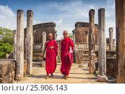 Купить «Monk walking in front of Vatadage (Round House) of Polonnaruwa ruin Unesco world heritage on Sri Lanka», фото № 25906143, снято 16 октября 2018 г. (c) BE&W Photo / Фотобанк Лори