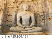 Купить «Buddha statue at Gal vihara temple in Polonnaruwa, Sri Lanka. The temple has four rock relief statues of the buddha carved of a large rock», фото № 25906151, снято 16 октября 2018 г. (c) BE&W Photo / Фотобанк Лори