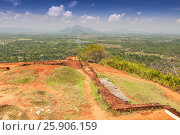 Купить «Garden On the top Sigiriya Rock Fortress, 5th Century Ruined Castle That Is Unesco Listed As A World Heritage Site In Sri Lanka», фото № 25906159, снято 23 июля 2019 г. (c) BE&W Photo / Фотобанк Лори