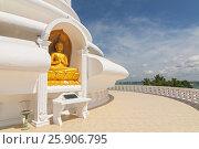 Купить «Japanese Peace Pagoda In Rumassala, Sri Lanka. The Japanese Peace Pagoda Near Unawatuna Is A Beautiful Shrine With Amazing Views Across Indian Ocean And Galle Dutch Fort», фото № 25906795, снято 16 октября 2018 г. (c) BE&W Photo / Фотобанк Лори