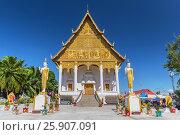Купить «Buddha statues in front of Wat That Luang Neua temple, Vientiane, Laos, Indochina, Asia», фото № 25907091, снято 25 мая 2019 г. (c) BE&W Photo / Фотобанк Лори