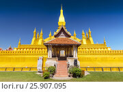 Купить «Pha That Luang, symbol of the Laos sovereignty, Buddhist religion and the city of Vientiane, Vientiane, Laos», фото № 25907095, снято 22 мая 2019 г. (c) BE&W Photo / Фотобанк Лори