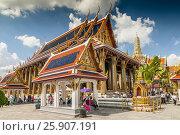Phra Ubosot at the Temple of the Emerald Buddha (Wat Phra Kaew), Grand Palace complex, Bangkok, Thailand. Редакционное фото, агентство BE&W Photo / Фотобанк Лори