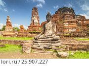 Купить «Buddha Statue at Wat Mahathat Buddhist temple ruins, Ayutthaya,Thailand», фото № 25907227, снято 23 июня 2018 г. (c) BE&W Photo / Фотобанк Лори