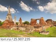 Ruins of Wat Phra Mahathat, Ayutthaya, Thailand, Asia. Стоковое фото, агентство BE&W Photo / Фотобанк Лори