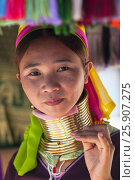 Купить «Woman from the Padaung long neck hill tribe, Tha Ton, Chiang Mai Province, Thailand», фото № 25907275, снято 27 мая 2019 г. (c) BE&W Photo / Фотобанк Лори