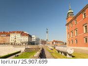 Купить «King Sigismund III Vasa column and Royal Castle, Old Town, Warsaw, Poland», фото № 25907699, снято 25 марта 2019 г. (c) BE&W Photo / Фотобанк Лори