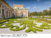 Купить «Ornamental east garden in Wilanow Royal Palace, Warsaw Poland», фото № 25907771, снято 25 марта 2019 г. (c) BE&W Photo / Фотобанк Лори