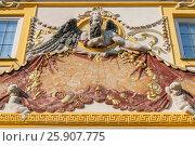 Купить «Baroque solar clock on the wall of Wilanow castle, Royal Palace, Warsaw Poland», фото № 25907775, снято 21 октября 2019 г. (c) BE&W Photo / Фотобанк Лори