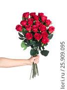 Hand holding bouquet of red roses. Стоковое фото, фотограф Tatjana Romanova / Фотобанк Лори