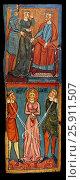 Купить «Gothic painted wood panels with scenes of the Martyrdom of Saint Lucy. Circa 1300. Tempera on wood. Date Circa 1300. Dimensions 68. 3 x 25. 3 x 1 cm. From...», фото № 25911507, снято 4 сентября 2013 г. (c) age Fotostock / Фотобанк Лори
