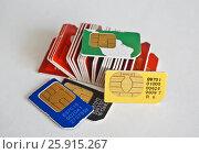 Купить «Сим-карты», фото № 25915267, снято 6 апреля 2017 г. (c) Sashenkov89 / Фотобанк Лори