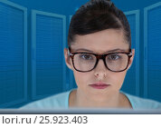 Купить «Woman on laptop with blue servers background», фото № 25923403, снято 4 июля 2020 г. (c) Wavebreak Media / Фотобанк Лори
