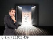 Купить «Confused businessman standing with door and question mark sign in background», фото № 25923439, снято 25 марта 2019 г. (c) Wavebreak Media / Фотобанк Лори