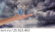 Купить «Digitally generated image of man and woman standing on hand against sky», фото № 25923463, снято 28 марта 2020 г. (c) Wavebreak Media / Фотобанк Лори