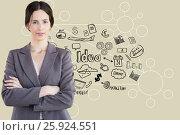 Купить «Portrait of businesswoman standing against various on beige background», фото № 25924551, снято 17 февраля 2019 г. (c) Wavebreak Media / Фотобанк Лори