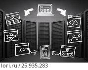 Купить «Black servers with white technology doodles against grey wall», фото № 25935283, снято 25 февраля 2020 г. (c) Wavebreak Media / Фотобанк Лори