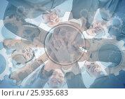 Купить «Business team putting hands together with gear graphic overlay», фото № 25935683, снято 25 февраля 2020 г. (c) Wavebreak Media / Фотобанк Лори