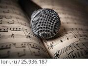 Купить «Microphone lies on the music book», фото № 25936187, снято 8 апреля 2017 г. (c) Александр Калугин / Фотобанк Лори