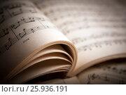 Купить «Open large music book close up», фото № 25936191, снято 8 апреля 2017 г. (c) Александр Калугин / Фотобанк Лори