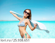 Купить «woman in bikini and sunglasses with towel on beach», фото № 25938651, снято 11 июля 2013 г. (c) Syda Productions / Фотобанк Лори