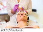 Купить «beautician applying facial mask to woman at spa», фото № 25938835, снято 26 января 2017 г. (c) Syda Productions / Фотобанк Лори