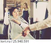 Купить «Upset woman in hairdress salon», фото № 25940591, снято 7 марта 2017 г. (c) Яков Филимонов / Фотобанк Лори