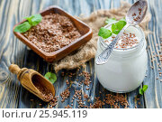 Купить «Homemade yogurt with flax seeds in glass jar», фото № 25945119, снято 15 марта 2017 г. (c) Марина Сапрунова / Фотобанк Лори