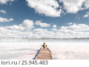 Купить «Girl tourist sits on the bridge before the frozen lake and plays guitar», фото № 25945483, снято 26 марта 2017 г. (c) Александр Мурзич / Фотобанк Лори