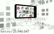 Купить «Mobile phone with online marketing and business icons», видеоролик № 25946047, снято 5 апреля 2020 г. (c) Wavebreak Media / Фотобанк Лори