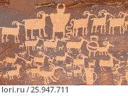 Купить «Great Hunt Panel petroglyphs, Nine Mile Canyon National Backcountry Byway, Utah.», фото № 25947711, снято 16 марта 2015 г. (c) age Fotostock / Фотобанк Лори