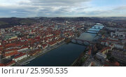 Купить «Aerials view of Maribor city in the overcast day», видеоролик № 25950535, снято 3 декабря 2015 г. (c) Иван Кузнецов / Фотобанк Лори