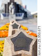 Купить «Галерея звезд с именами первых советских космонавтов на аллее Космонавтов на фоне монумента «Покорителям космоса» (Москва)», фото № 25950671, снято 25 августа 2016 г. (c) Manapova Ekaterina / Фотобанк Лори
