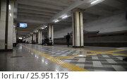 Купить «Kazan, Russia - March 25.2017. Interior of metro station Sukonnaya sloboda», видеоролик № 25951175, снято 25 марта 2017 г. (c) Володина Ольга / Фотобанк Лори