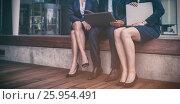 Купить «Businesspeople sitting with laptop in office premises», фото № 25954491, снято 18 июня 2019 г. (c) Wavebreak Media / Фотобанк Лори