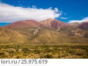 Купить «View of Andes mountains, Valle Hermoso», фото № 25975619, снято 9 февраля 2017 г. (c) Яков Филимонов / Фотобанк Лори