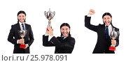 Купить «Businessman awarded with prize cup isolated on white», фото № 25978091, снято 30 октября 2013 г. (c) Elnur / Фотобанк Лори
