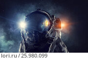 Купить «Astronaut in outer space. Mixed media . Mixed media», фото № 25980099, снято 16 июля 2019 г. (c) Sergey Nivens / Фотобанк Лори