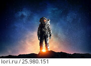 Купить «Astronaut in outer space. Mixed media . Mixed media», фото № 25980151, снято 19 марта 2014 г. (c) Sergey Nivens / Фотобанк Лори