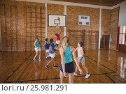 Купить «High school kids playing basketball in the court», фото № 25981291, снято 18 февраля 2017 г. (c) Wavebreak Media / Фотобанк Лори